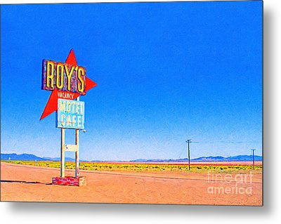 Roys Motel And Cafe Metal Print by Wingsdomain Art and Photography