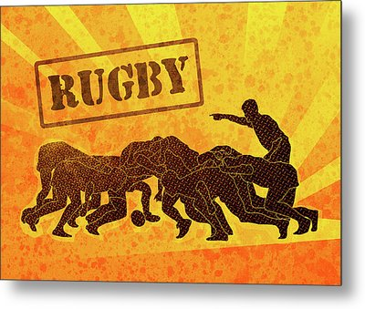 Rugby Players Engaged In Scrum  Metal Print by Aloysius Patrimonio