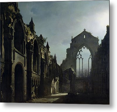 Ruins Of Holyrood Chapel Metal Print by Louis Jacques Mande Daguerre