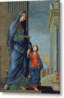 Saint Anne Leading The Virgin To The Temple Metal Print by Jacques Stella