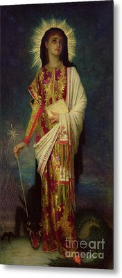 Saint Margaret Slaying The Dragon Metal Print by Antoine Auguste Ernest Herbert