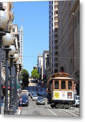 San Francisco Cablecar On Powell Street Metal Print by Wingsdomain Art and Photography