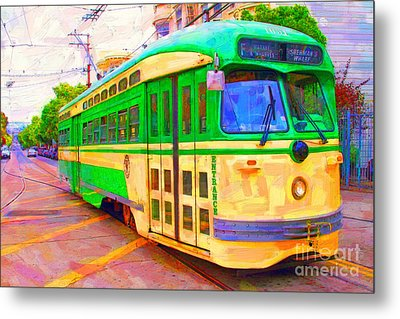 San Francisco F-line Trolley Metal Print by Wingsdomain Art and Photography
