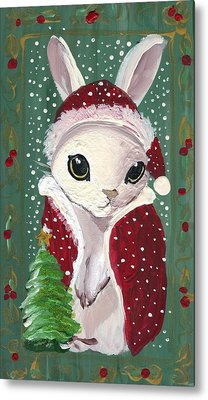 Santa Claus Bunny Metal Print by Sylvia Pimental