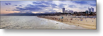 Santa Monica Sunset Panorama Metal Print by Ricky Barnard