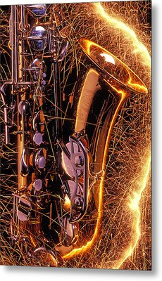 Sax With Sparks Metal Print by Garry Gay