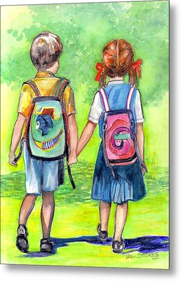 Schooldays Metal Print by Val Stokes
