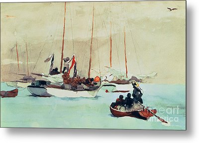 Schooners At Anchor In Key West Metal Print by Winslow Homer