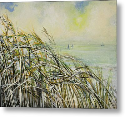 Sea Oats Sailboats Metal Print by Michele Hollister - for Nancy Asbell