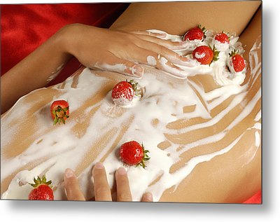 Sexy Nude Woman Body Covered With Cream And Strawberries Metal Print by Oleksiy Maksymenko