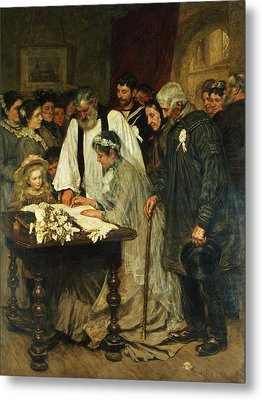 Signing The Marriage Register Metal Print by James Charles