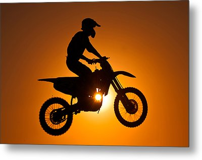 Silhouette Of Motocross At Sunset Metal Print by Shahbaz Hussain's Photos