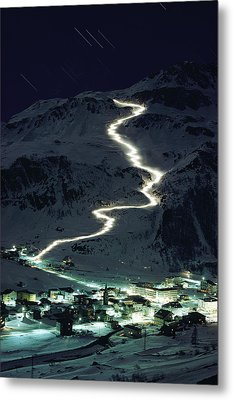 Skiers Bearing Torches Ski Down Mont Metal Print by George F. Mobley