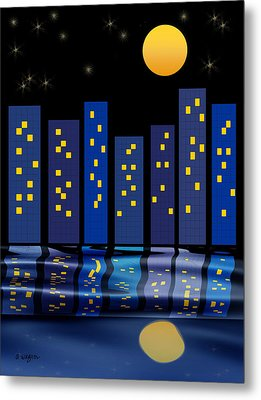 Skyline Reflections Metal Print by Arline Wagner