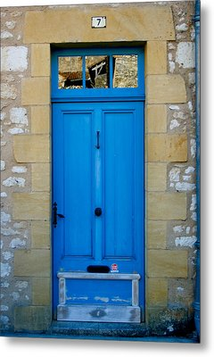 South Of France Rustic Blue Door  Metal Print by Georgia Fowler