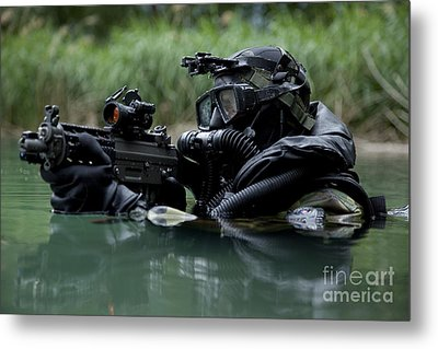 Special Forces Combat Diver Takes Metal Print by Tom Weber
