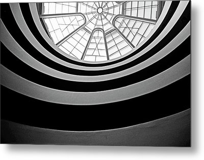 Spiral Staircase And Ceiling Inside The Guggenheim Metal Print by Sami Sarkis