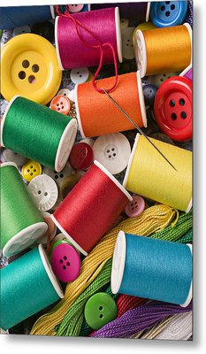 Spools Of Thread With Buttons Metal Print by Garry Gay