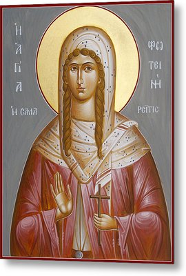 St Photini - The Samaritan Woman Metal Print by Julia Bridget Hayes