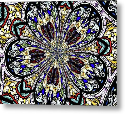 Stained Glass Kaleidoscope 38 Metal Print by Rose Santuci-Sofranko