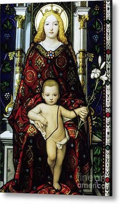 Stained Glass Window Of The Madonna And Child Metal Print by Sami Sarkis