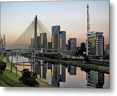 Stayed Bridge And Modern Sao Paulo Skyline Metal Print by Carlos Alkmin