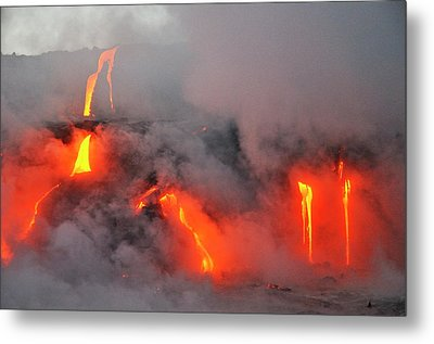 Steam Rising Off Lava Flowing Into Ocean Metal Print by  Sami Sarkis