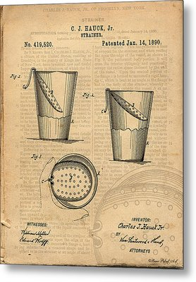 Strainer Vintage And Antique Patent Art Metal Print by Michel Keck