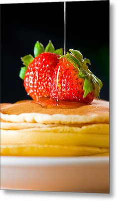 Strawberry Butter Pancake With Honey Maple Sirup Flowing Down Metal Print by Ulrich Schade