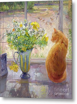 Striped Jug With Spring Flowers Metal Print by Timothy Easton