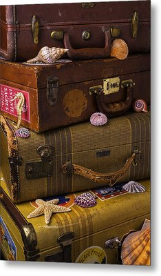 Suitcases With Seashells Metal Print by Garry Gay