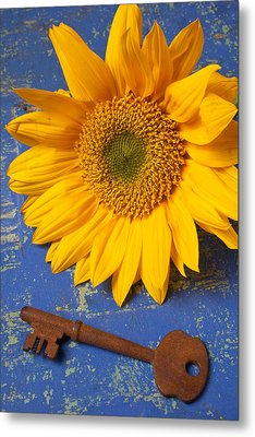 Sunflower And Skeleton Key Metal Print by Garry Gay