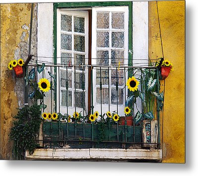 Sunflower Balcony Metal Print by Carlos Caetano