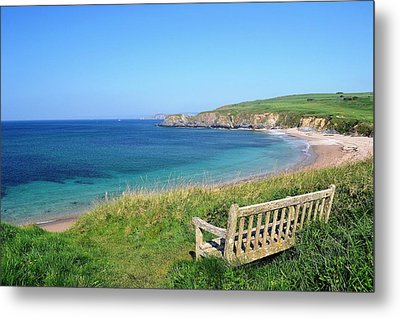 Sunny Day At Thurlestone Beach Metal Print by Photo by Andrew Boxall