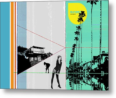 Sunset In La Metal Print by Naxart Studio