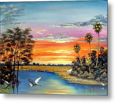 Sunset On The Glades Metal Print by Riley Geddings