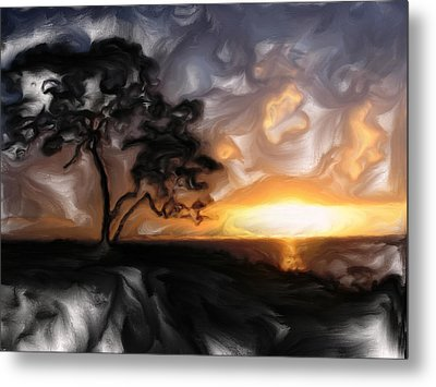 Sunset With Tree Metal Print by Mark Denham