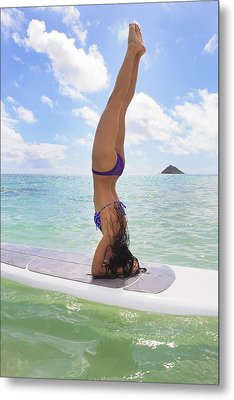 Surfboard Headstand Metal Print by Tomas del Amo - Printscapes