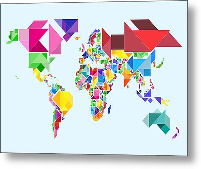 Tangram Abstract World Map Metal Print by Michael Tompsett