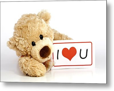 Teddy Bear With I Love You Sign Metal Print by Blink Images