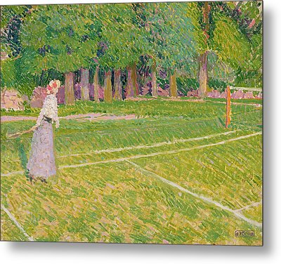 Tennis At Hertingfordbury Metal Print by Spencer Frederick Gore