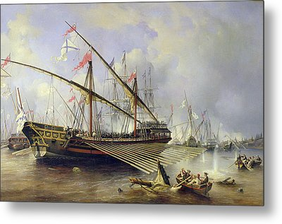 The Battle Of Grengham On 27th July 1720 Metal Print by Ferdinand Victor Perrot