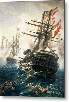 The Battle Of Lissa Metal Print by Constantin Volonakis