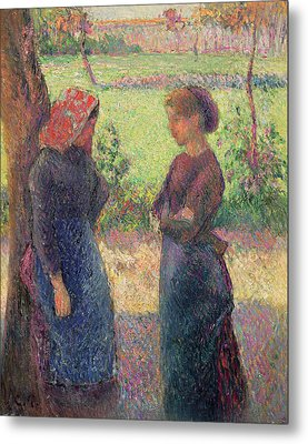 The Chat Metal Print by Camille Pissarro