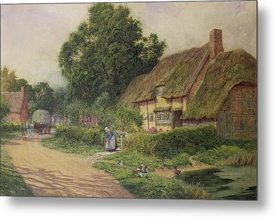 The Coming Of The Haycart  Metal Print by Arthur Claude Strachan