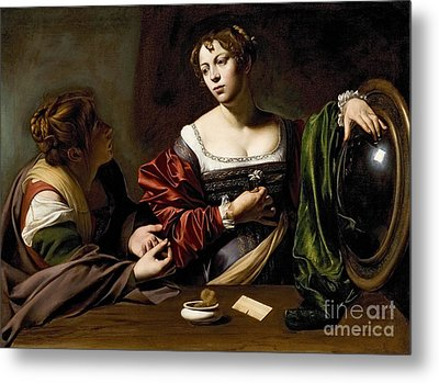 The Conversion Of The Magdalene Metal Print by Michelangelo Merisi da Caravaggio