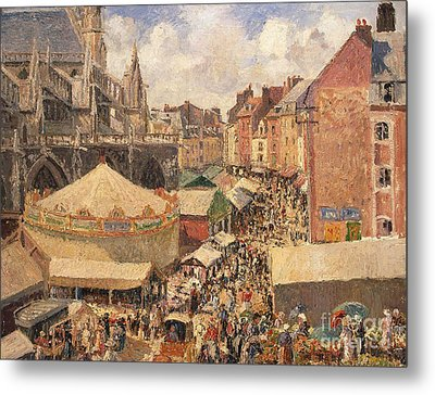 The Fair In Dieppe Metal Print by Camille Pissarro
