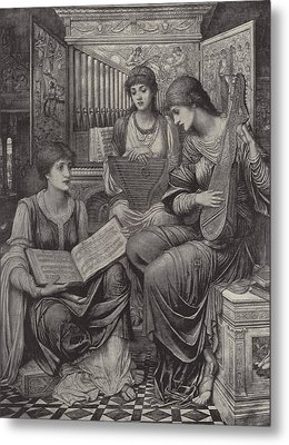The Gentle Music Of The Bygone Day Metal Print by John Melhuish Strudwick