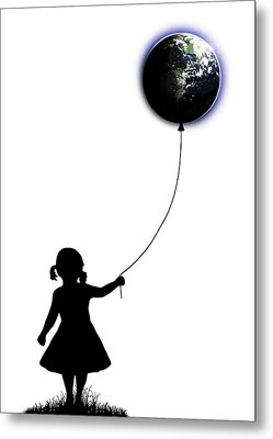The Girl That Holds The World - White  Metal Print by Nicklas Gustafsson