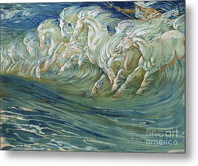 The Horses Of Neptune Metal Print by Walter Crane